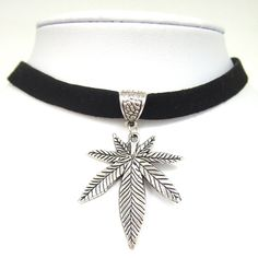 Cheap necklace collar, Buy Quality choker necklace directly from China collar gothic Suppliers: Black Flat Faux Suede Leather Cord / Silver Pot Gold Weed Leaf Charm Choker Necklace Collares Gothic Fashion Jewelry Black Leather Choker, Black Choker, Leather Collar, Leather Cord, Suede Leather, Leather Necklace, Leather Material, Gothic Chokers, Gothic Jewelry
