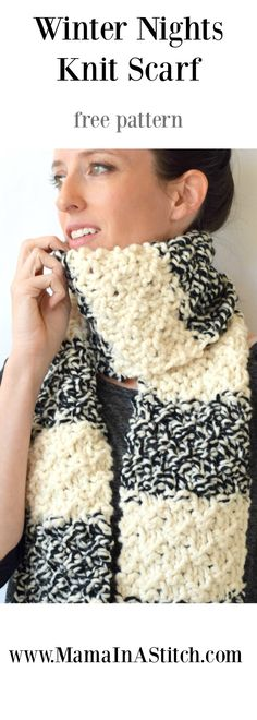Winter Nights Easy Knit Scarf Pattern via @MamaInAStitch free pattern for a chunky knit scarf! #crafts #diy #knitting