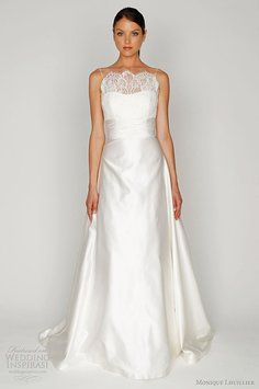 eb2f7d921a Silk white re-embroidered lace and silk satin bateau neck