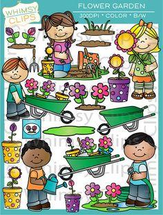 Kids In The Flower Garden Clip Art