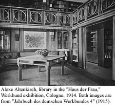 Library in the Haus der Frau, Cologne, 1914 Cologne, Architects, Dining Bench, Designers, Furniture, Decor, Women, House, Decoration