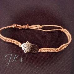 Handmade macrame bracelet with Element Hand of Fatima