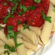Arrabiata Pasta Sauce- one of my Italian faves. Flavored with savory spices and bacon. It is somewhat spicey but if you want to calm it down a bit, just add some heavy cream.