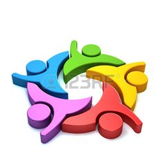 3D People logo colorful Stock Photo - 41763231