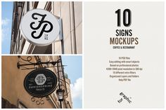 Restaurant & Coffee Shop Signs Mockup based on professional photos. 10 different photos with 10 different vintage filters. Easy to use with smart objects. Just open the psd file and place