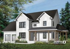 NEW VERSION OF A POPULAR HOUSE    Modern farmhouse home plan, 2-car garage, 3 bedrooms, laundry room on second floor, home office # 3861    https://www.drummondhouseplans.com/house-plan-detail/info/oakville-country-1001841.html