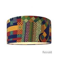 Vintage 70s Liberty Bauhaus tessuto paralume lampada da soffitto