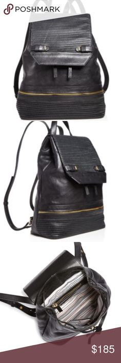 She + lo silverling backpack Black NWT silverlining backpack in black leather 9x12x5 deep magnetic closure and tie. Brand new! Adjustable straps NO TRADES She + lo Bags Backpacks