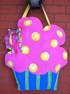 Colorful Cupcake  Burlap Door Hanger by PolkadotPenguinShop, $25.00
