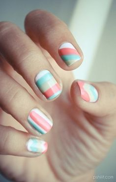Four colors colours nail art: white, mint green, aqua sky blue and coral pink. Horizontal, vertical and diagonal lines stripes, chevron and v-shape design. #spring #Easter #Summer