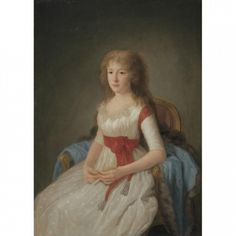 PORTRAIT OF A YOUNG WOMAN IN A WHITE DRESS Agustin Esteve y Marques 1795