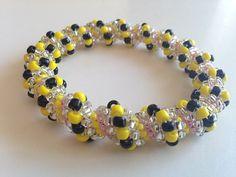Beadwoven Cellini Spiral Bangle Bracelet Bumblebee