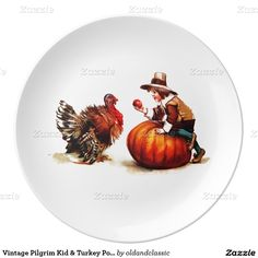 Thanksgiving Gift Decorative Porcelain Plates with a vintage Victorian age postcard image of the Pilgrim Kid & Turkey. Matching Cards, Postage Stamps and other products available in the oldandclassic store at zazzle.com