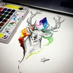 Arte disponível para Tattoo • para quem tiver interesse mande inbox #cervo #deer #watercolor #aquarela #aquarelatattoo #watercolor #watercolortattoo #tattoo #tatuagem #lcjunior