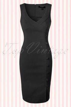 "The 50s Julia Pencil Dress in Black by Fever is a sassy pin-up style dress, vavavoom! This fitted pencil style features a sexy deep wrap over neckline and a striking row of fabric faux buttons that run across the entire length. The skirt will hug your curves beautifully without marking any problem areas and the side slit at the front makes a playful detail. Made from a stretchy viscose blend and finished off with a hidden zipper at the back. With a height of 1.70m/5'7""..."