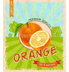 Orange retro poster vector by macrovector on VectorStock®