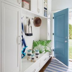Mudroom with Turquoise Door, Cottage, Laundry Room