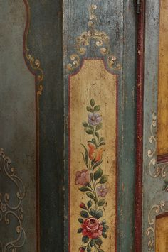 Luxury wardrobe hand-decorated in the baroque tirol style … – Designs Furniture Near Me, Painting Wooden Furniture, Painting On Wood, Chicken Painting, Luxury Wardrobe, Painting Shutters, Folk Art Flowers, Baroque Design, Antique Paint