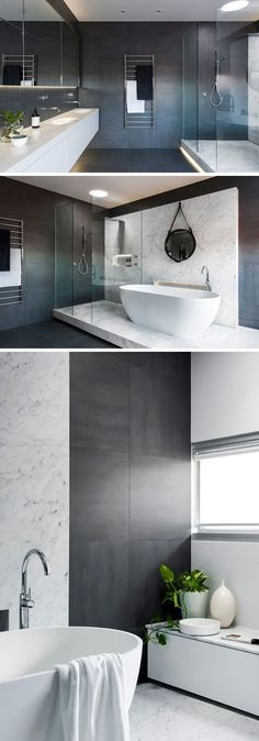 Bathroom Tile Ideas - Use Large Tiles On The Floor And Walls // The large gray tiles used in this bathroom, on both the walls and the floor, create a dramatic look and luxurious feeling.