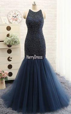 Navy Trumpet Mermaid V Neck Tulle Court Train Beading Long Prom Dress | Prom  Dresses | Pinterest | Long prom dresses, Trumpets and Prom