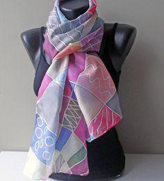 Patchwork in silk. Silk Scarf Hand Painted. by MarijanaSilk, $56.00