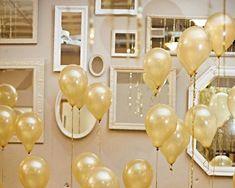 goldene Ballons als Silvester Deko