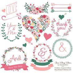 Premium Floral Clip Art & Vectors - Rose Garden Wedding Clip Art, Wedding Clipart, Love Clipart, Vintage Flowers, Hand Drawn Flowers