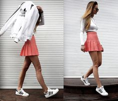 More looks by Endzel: http://lb.nu/endzel  #casual #chic #classic #skirt #pink #tenniskirt #love #pastelpink #adidas