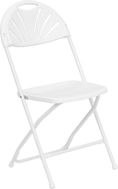 Fan Back Folding Chair - Set of 8 White Light-Weight Fan Shaped Back