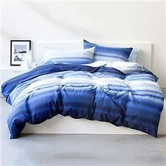 King Bed Blue Ombre Stripe Quilt Doona Cover 3PC Set in Home & Garden, Bedding, Quilt Covers   eBay!