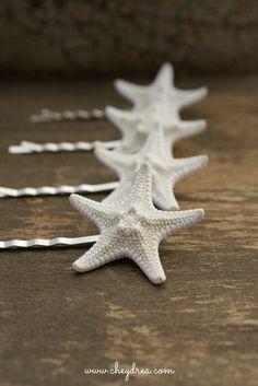 BEACH WEDDING Hair Accessories, White Starfish Hair Pins by Cheydrea