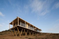 Dock House in coastal Chile by SAA rests on triangular wooden stilts Timber House, Wooden House, Dock House, Wooden Facade, Seaside Holidays, Wooden Terrace, House On Stilts, Cabins In The Woods, Amazing Architecture