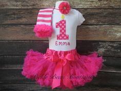 Girls 1st Birthday Outfit Hot Pink Dots by PickleBeanBoutique