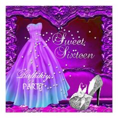 Sweet 16 Decoration Pictures | Sweet Sixteen 16 Birthday Party Purple Dress Gown Personalized ...