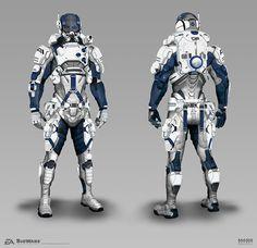 Mass Effect Andromeda - Andromeda Armorset, Brian Sum on ArtStation Mass Effect Characters, Sci Fi Characters, Futuristic Armour, Futuristic Art, Character Concept, Character Design, 3d Character, Space Armor, Star Trek
