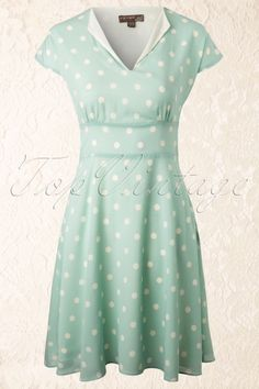 Fever - 40s Amalfi Polka Dot Dress in Mint Green