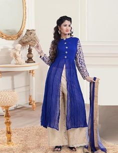 Georgette blue readymade anarkali salwar suit, perfect attire for parties. Product code - G3-WSS7338 Price - INR 6995/-