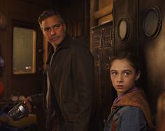 Older Frank Walker played by George Clooney and ageless Athena played by Raffey Cassidy from the Disney Tomorrowland Movie.