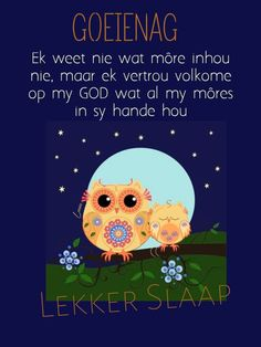 Goeie Nag, Afrikaans, Sympathy Cards, Good Night, Poster, Affirmations, Sayings, Pictures, Quotes