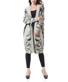 Look at this #zulilyfind! Simply Couture Beige & Black Portrait Fuzzy Open Duster by Simply Couture #zulilyfinds