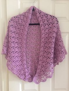 Joanne's  'Southbay Shawlette' prayer shawl! 3 skeins of Caron Simply Soft in blackberry!