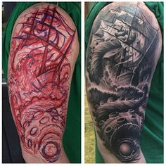 You can see the process required to create this amazing tattoo in this split sho… – Octopus Tattoo Daddy Tattoos, Bike Tattoos, Weird Tattoos, Leg Tattoos, Sleeve Tattoos, Cool Tattoos, Naval Tattoos, Nautical Tattoo Sleeve, Kraken Tattoo