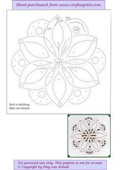 ED119 Mandala flower on Craftsuprint designed by Emy van Schaik - Stitching with beads - Now available for download!