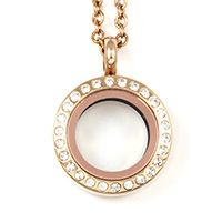 MINI ROSE GOLD LOCKET WITH CRYSTALS There's an almost fairy-tale charm about this little locket, which adds the delight of tiny Swarovski crystals to the subtle beauty of rose gold. A locket to love. 0.75 inches in diameter. Holds 2 to 3 charms, depending on the charm size. An elegant 18-inch rose gold chain is included.   Mini - .75 inch Diameter - Our small lockets come with an elegant 18 inch chain and hold 2-3 charms, depending on the charm size.
