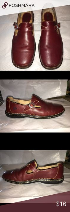 Born Leather Loafers Flats Brown Cute Mary Jane style loafers.  Reddish brown leather.  Size 9 medium.  Used with lots of life left.  Good condition with some toe scuffs.  From non-smoking home.  Bundle with other items from my closet and I'll send you a private offer. Born Shoes Flats & Loafers