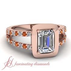 Emerald And Round Cut Diamonds & Orange Sapphire 14K Rose Gold In Floating Prong || Metal Halo Ring