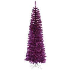 4.5' Pre-Lit Purple Tinsel Pencil Artificial Christmas Tree - Purple Lights