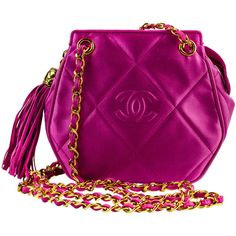 Chanel Pink Satin Crossbody Shoulder Bag found on Polyvore