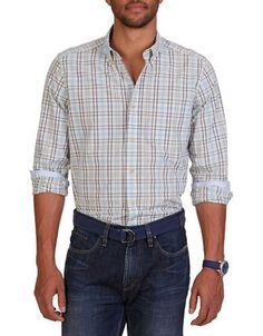 Nautica Classic Fit Cream Plaid Shirt Men's Cool Breeze Blue XX-Large