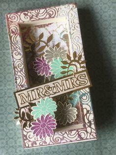Wedding card using Tonic Studios shadow box card Shadow Box, Die Cut Cards, Paper Gifts, Wedding Anniversary, Wedding Cards, Studios, Decorative Boxes, Card Designs, Crafting